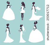 set of elegant brides in... | Shutterstock .eps vector #253017712