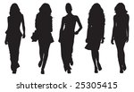 fashion model silhouettes | Shutterstock .eps vector #25305415