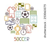 sports background with soccer... | Shutterstock .eps vector #253063375