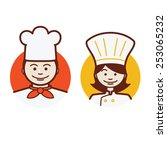 male and female chef | Shutterstock .eps vector #253065232