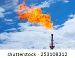 gas flaring. torch against the... | Shutterstock . vector #253108312