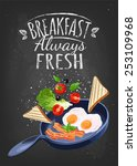 breakfast poster. fried eggs... | Shutterstock .eps vector #253109968