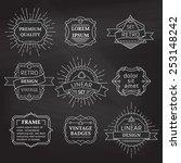 vector set of linear chalk... | Shutterstock .eps vector #253148242