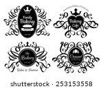 retro black bakery logo labels... | Shutterstock .eps vector #253153558