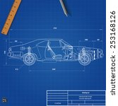 old car blueprint. vector... | Shutterstock .eps vector #253168126