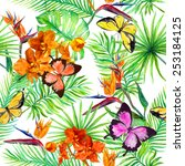 tropical butterflies  exotic... | Shutterstock . vector #253184125