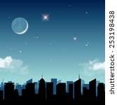 star night in the city vector... | Shutterstock .eps vector #253198438