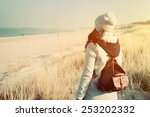 woman with retro backpack... | Shutterstock . vector #253202332
