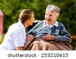 nurse holding hands with senior ... | Shutterstock . vector #253210615