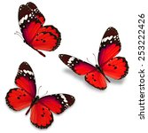 three red butterfly isolated on ... | Shutterstock . vector #253222426