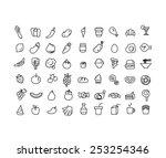 vector set of hand draw 54 item ... | Shutterstock .eps vector #253254346