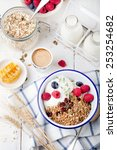 healthy breakfast. granola ... | Shutterstock . vector #253254682