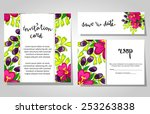 set of invitations with floral... | Shutterstock . vector #253263838
