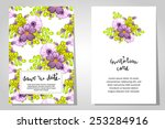 set of invitations with floral... | Shutterstock . vector #253284916