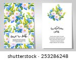 set of invitations with floral...   Shutterstock . vector #253286248