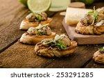 mushroom snacks on grilled... | Shutterstock . vector #253291285