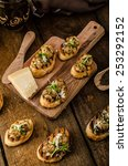 mushroom snacks on grilled... | Shutterstock . vector #253292152