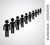 long queue symbol vector format    Shutterstock .eps vector #253319245