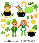 boy and girl in irish costumes. ... | Shutterstock .eps vector #253322686