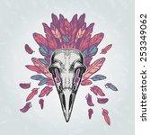 barn owl skull on a plumage... | Shutterstock .eps vector #253349062