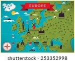 map of europe vector... | Shutterstock .eps vector #253352998