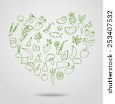 hand drawn healthy food in... | Shutterstock .eps vector #253407532