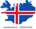 map and flag of iceland | Shutterstock .eps vector #253414312
