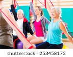 senior people at fitness course