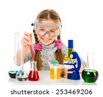 happy little girl with flasks... | Shutterstock . vector #253469206
