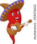 red chili pepper cartoon... | Shutterstock .eps vector #253476622