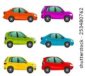 colorful cars illustration | Shutterstock . vector #253480762
