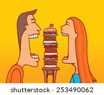 cartoon illustration of couple... | Shutterstock .eps vector #253490062