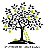 Vector Pear Tree And Ladder...