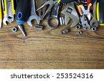 Set Of Working Tools On Wood...