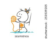 seamstress holding a needle and ... | Shutterstock .eps vector #253539205
