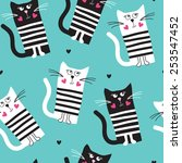seamless turquoise cat pattern... | Shutterstock .eps vector #253547452