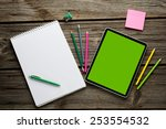digital tablet computer with ... | Shutterstock . vector #253554532