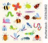 set funny insects. cartoon...