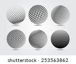 halftone sphere.halftone vector ... | Shutterstock .eps vector #253563862