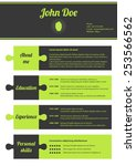modern cv template with puzzle... | Shutterstock .eps vector #253566562