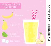 banana and pear smoothie recipe.... | Shutterstock .eps vector #253566796
