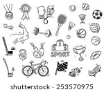 hand drawn sport doodle set | Shutterstock .eps vector #253570975