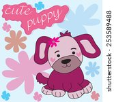 cute puppy with flowers vector... | Shutterstock .eps vector #253589488