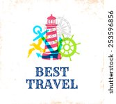 retro poster with travel symbols | Shutterstock .eps vector #253596856