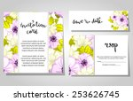 set of invitations with floral... | Shutterstock .eps vector #253626745