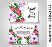 set of invitations with floral... | Shutterstock .eps vector #253626925