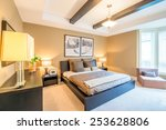 modern bright bedroom interior... | Shutterstock . vector #253628806