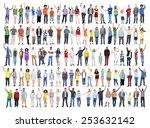 multiethnic casual people...   Shutterstock . vector #253632142