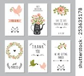 set of six wedding card or... | Shutterstock .eps vector #253635178