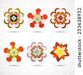 set of vectorized flowers | Shutterstock .eps vector #253638952